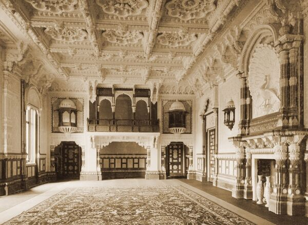 "OSBORNE HOUSE, Isle of Wight. Interior view. Photograph from the album ""Royal Tableaux, Osborne"", ""Indian Durbar Room July 28th 1892&quot"