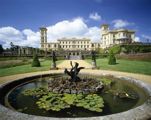 OSBORNE HOUSE, Isle of Wight. A view of the house with the fountain Geiss of bronze boy and swan