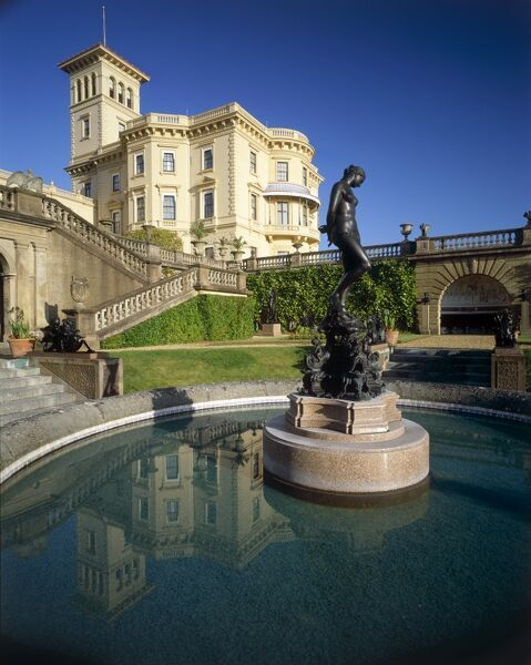 OSBORNE HOUSE, Isle of Wight. View from the Lower Terrace overlooking the Andromeda Fountain