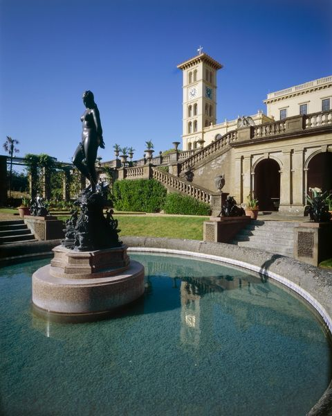 OSBORNE HOUSE, Isle of Wight. View of Andromeda fountain by John Bell on the Lower Terrace