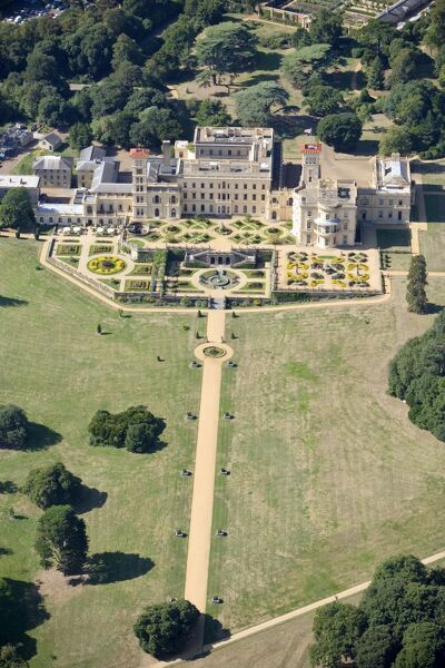OSBORNE HOUSE, East Cowes, Isle of Wight. An aerial view of the house and formal gardens