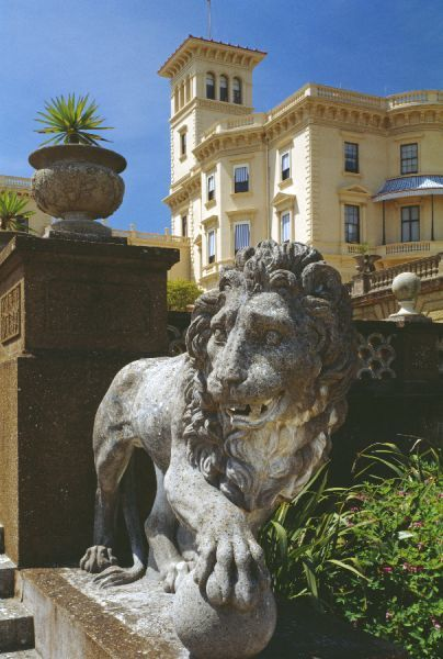 OSBORNE HOUSE, Isle of Wight. Copy of the Medici Lion with house in the background