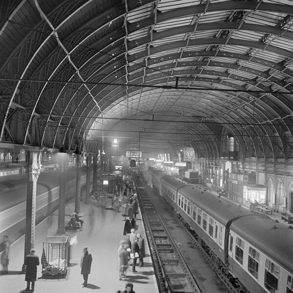 PADDINGTON STATION, London. Elevated view showing passengers awaiting the arrival of a train on Platform 2 at Paddington railway station. John Gay. Date range: 1960-1972