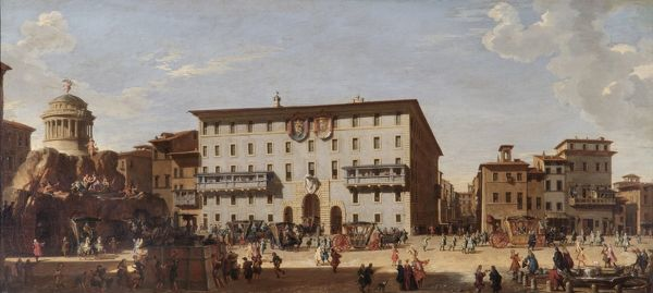 "APSLEY HOUSE, London. ""A Festival in the Piazza di Spagna Rome"" 1727 by Giovanni Paolo PANINI (1691-1765). WM 1641-1948. Spanish Royal Collection, captured at Vitoria 1813. Pannini"