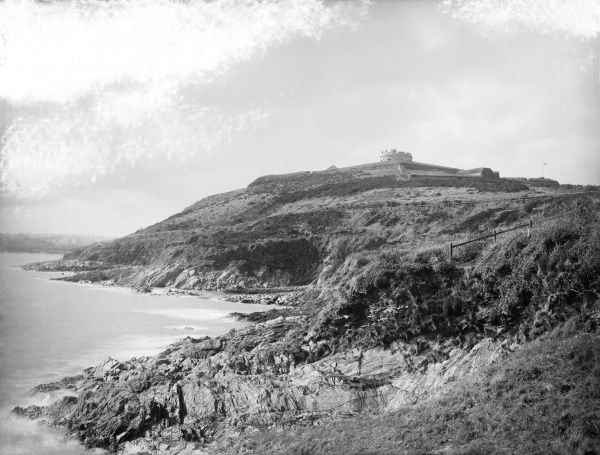 PENDENNIS CASTLE, Falmouth, Cornwall. Exterior general view of the bay taken from the Naval Station, looking towards the castle on the cliff. Photographed by Henry Taunt between 1860 and 1922