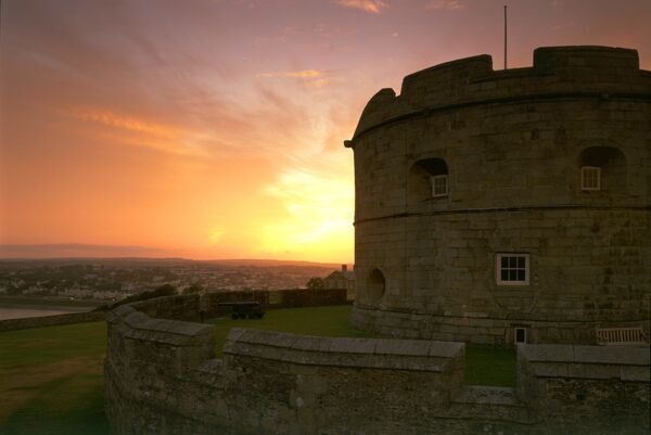 PENDENNIS CASTLE, Falmouth, Cornwall. The Keep at sunset