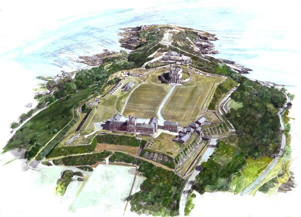 PENDENNIS CASTLE, Falmouth, Cornwall. Aerial reconstruction painting by Ivan Lapper of the Tudor, Elizabethan and later fortress as it appears today