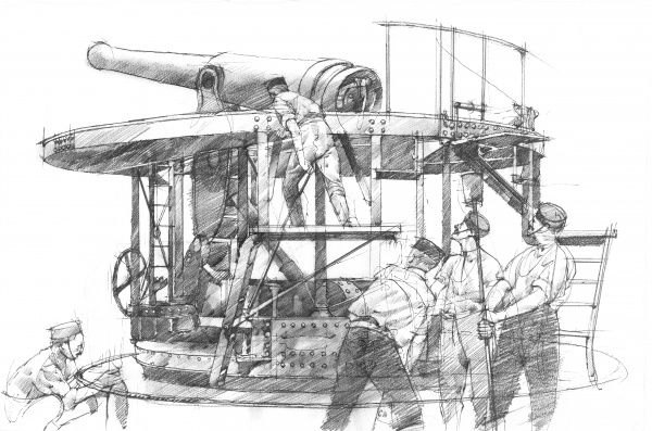 PENDENNIS CASTLE, Cornwall. c.1894. Reconstruction drawing of operating gun by Ivan LAPPER
