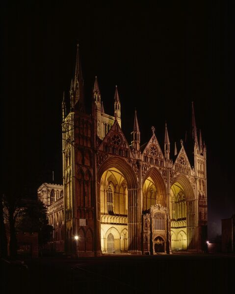 PETERBOROUGH CATHEDRAL, Cambridgeshire. Exterior view of the cathedral at night