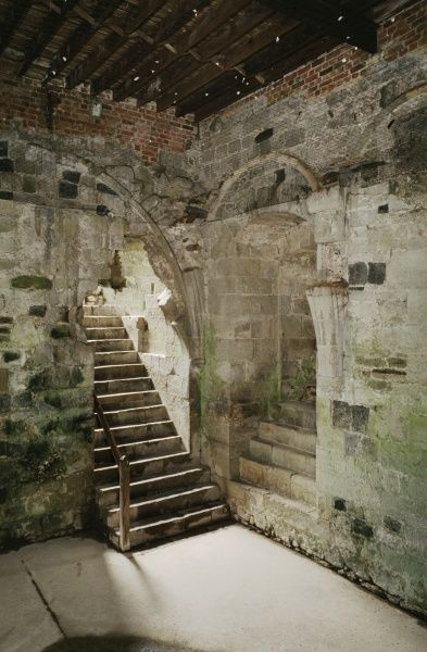 PEVENSEY CASTLE, East Sussex. Basement of the North Tower of the Inner Bailey