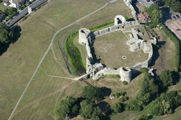 PEVENSEY CASTLE, East Sussex. Aerial view of the medieval inner bailey