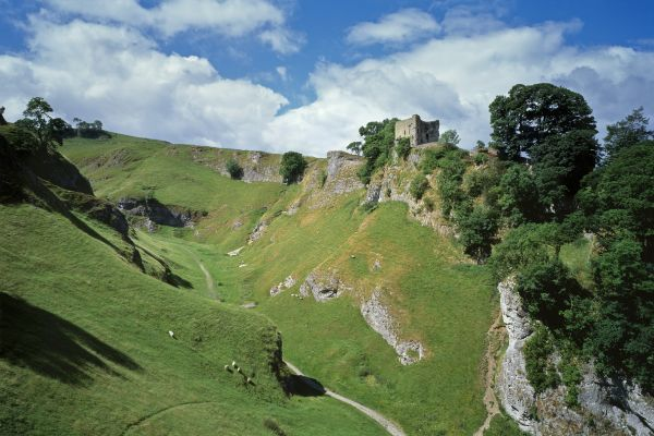 PEVERIL CASTLE, Derbyshire. View from the South East looking across Cavedale towards the castle