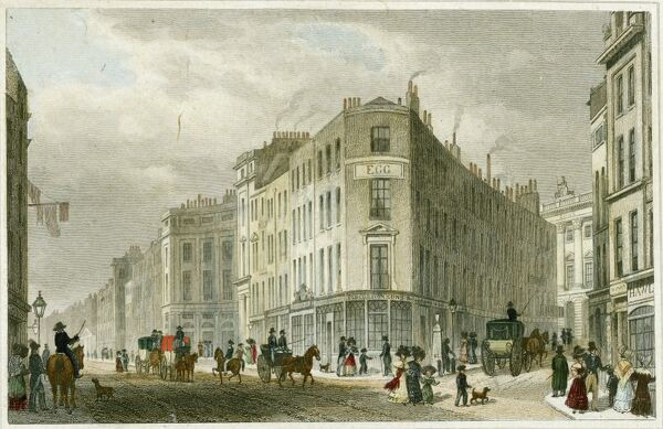Piccadilly, London. An engraving showing Piccadilly from Coventry Street with Tichborne Street visible to the right. Coloured engraving from the Mayson Beeton Collection