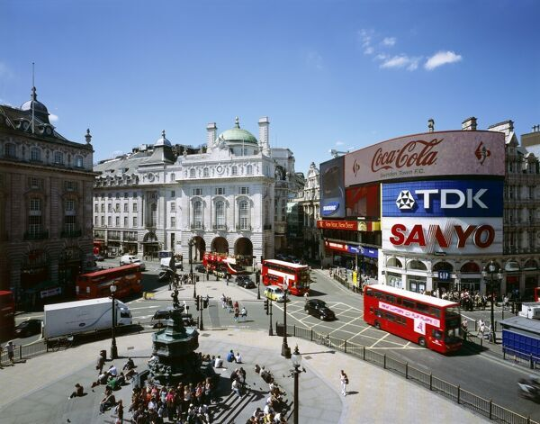 PICCADILLY CIRCUS, City of Westminster, London. Elevated view