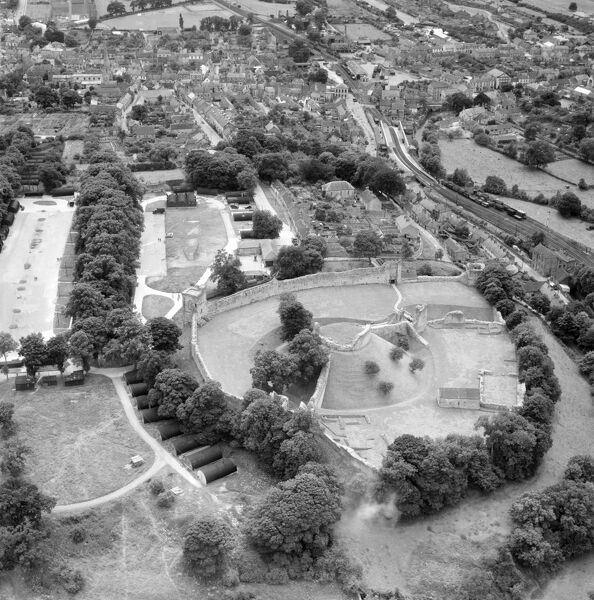 PICKERING CASTLE, North Yorkshire. Aerial view, 15th July 1953. Aerofilms Collection (see Links)