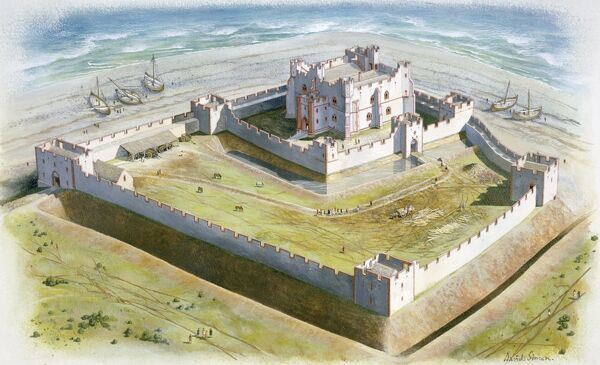 PIEL CASTLE, Barrow-in-Furness, Cumbria. Aerial view reconstruction drawing by David Simon of the castle in the early 14th century