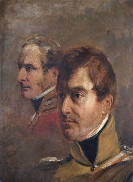 APSLEY HOUSE, London. Major Generals Sir Frederick Ponsonby (1783-1837) and Sir Colin Campbell (1776-1847) sketched by Jan Willem PIENEMAN in 1821 (WM 1468-1948). Both served at the Battle of Waterloo in 1815. Ponsonby was Colonel of the 12th Light Dragoons