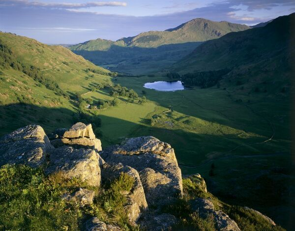 SIDE PIKE, Lake District, Cumbria. View of Blea Tarn, Blea Moss and the Tilberthwaite Fells