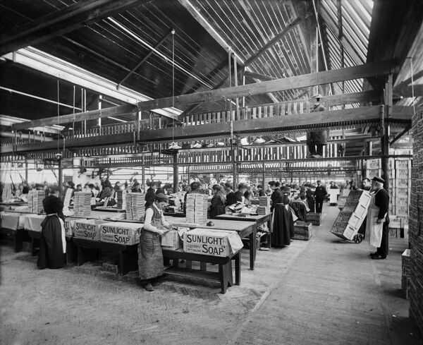 LEVER BROTHERS SUNLIGHT SOAP WORKS, Port Sunlight, Wirral, Merseyside. Interior view. Workers packing soap boxes. Photographed by Bedford Lemere & Co. in April 1897