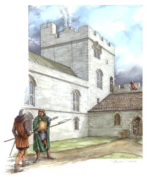 PORTCHESTER CASTLE, Hampshire. Reconstruction drawing of Astons Tower in the mid 14th century by Peter Dunn (English Heritage Graphics Team)