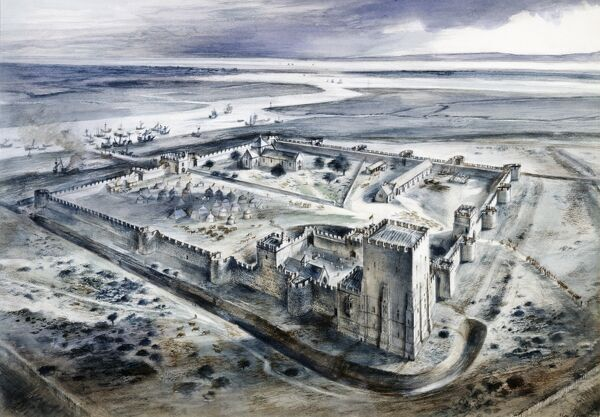 PORTCHESTER CASTLE, Hampshire. Reconstruction drawing by Alan Sorrell of the castle as it might have appeared in the 15th century