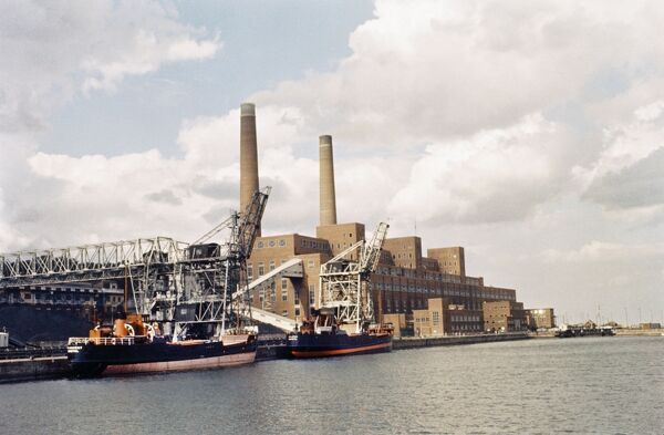Portishead 'B' Power Station, North Somerset. Although this photograph was created in around 1978 for John Laing, it is possibly a copy of an earlier colour image. Portishead 'B' Power Station was built between 1954 and 1959