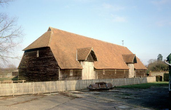 PRIOR'S HALL BARN, Widdington, Essex. Exterior view from the South West