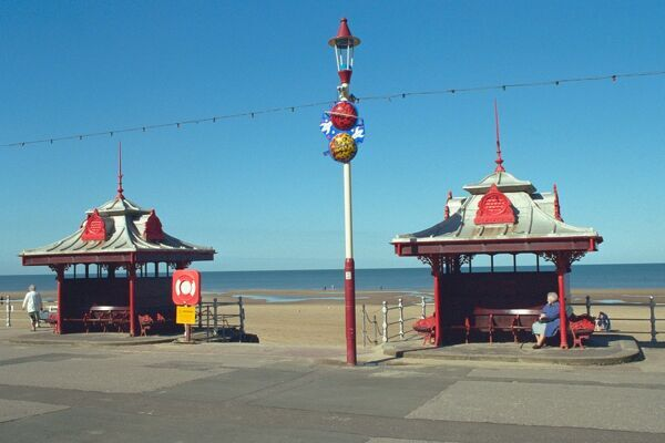 Pair of cast iron shelters on Blackpool Promenade. IoE 183673