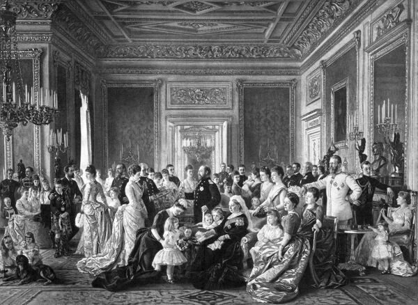 OSBORNE HOUSE, Isle of Wight. The Ryde Album. Queen Victoria with her family and relatives in 1887 - celebrating her Golden Jubilee. Engraving after a painting by Laurits Tuxen