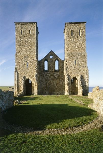 RECULVER TOWERS AND ROMAN FORT, Kent. View looking west of the interior face of Reculver Church