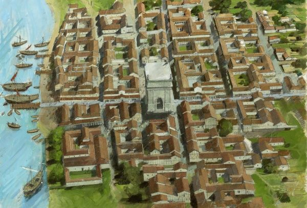 RICHBOROUGH ROMAN FORT, Kent. Aerial reconstruction of town, port and monument by Ivan Lapper
