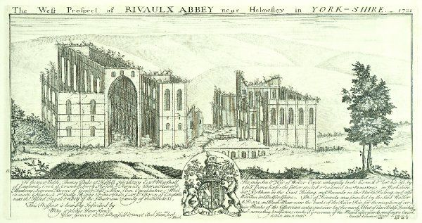 RIEVAULX ABBEY, North Yorkshire. 'West prospect of Rievaulx Abbey near Helmsley in Yorkshire' by Samuel and Nathaniel Buck 1721