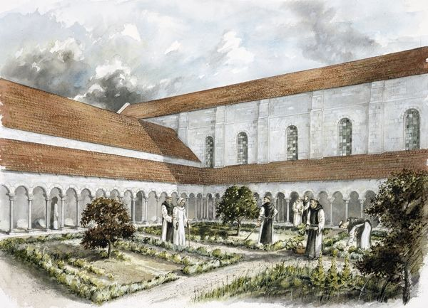 RIEVAULX ABBEY, North Yorkshire. Reconstruction drawing of the infirmary cloister in the mid 13th century by Peter Dunn (English Heritage Graphics Team)
