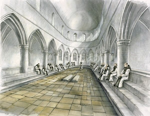 RIEVAULX ABBEY, North Yorkshire. Interior view reconstruction drawing of the chapter house in the 14th century by Peter Dunn (English Heritage Graphics Team)