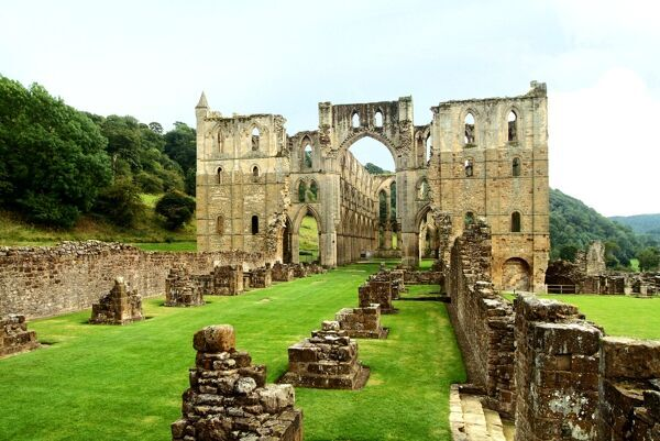 RIEVAULX ABBEY, North Yorkshire. View of the crossing from the nave