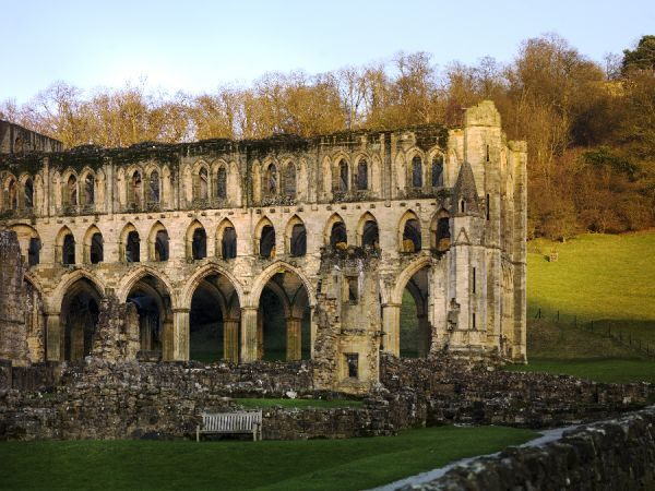 RIEVAULX ABBEY, North Yorkshire.The presbytery viewed from the south. Low winter sunlight