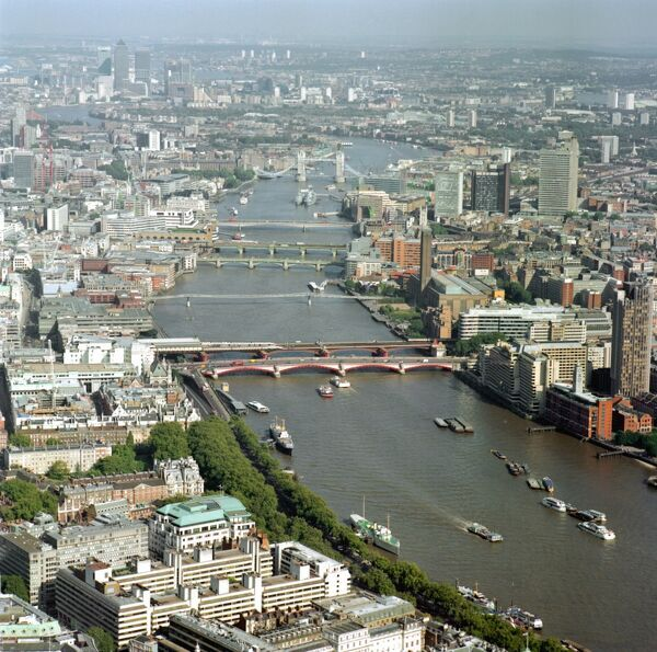 RIVER THAMES, London. Aerial view. The River Thames has always been of major importance to the City of London