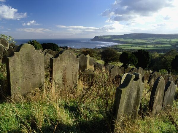 ROBIN HOODS BAY, North Yorkshire. View from graveyard towards the bay