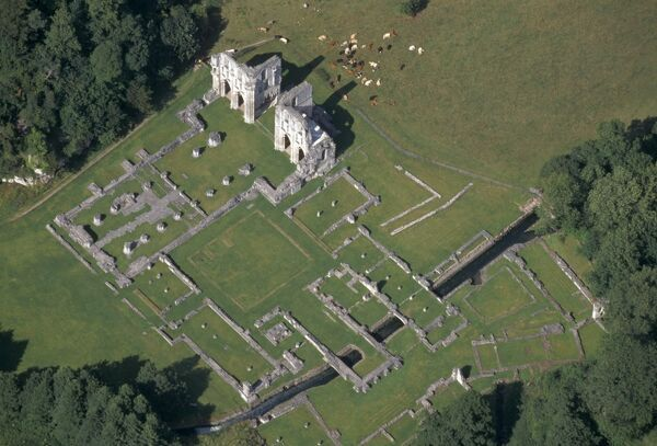 Roche Abbey, Maltby, South Yorkshire. An aerial view of the ruins from the south west. This Cistercian Abbey was founded in 1147, but was plundered for building material after it was surrendered to the Crown in 1538. Only the walls of the chancel