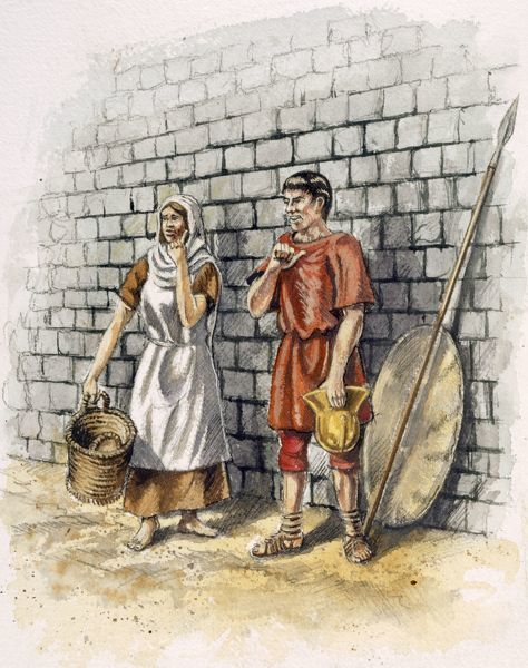 OLD SARUM, Wiltshire. Reconstruction drawing by Peter Dunn (English Heritage Graphics Team) of a Roman man and woman