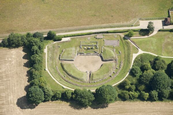 Verulamium Roman Town, St Albans, Hertfordshire. An aerial view showing the Roman Theatre, 2015