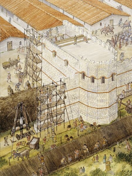 YORK, North Yorkshire. Aerial reconstruction drawing showing Roman York. Construction of interval tower c.210AD by Tracey Croft