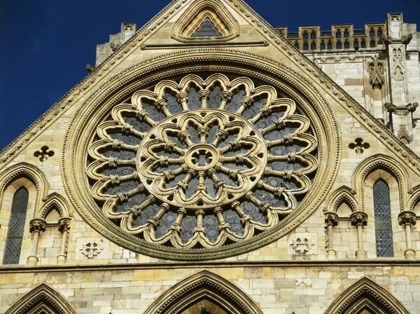 YORK MINSTER, North Yorkshire. Detail of the Rose Window in the south elevation