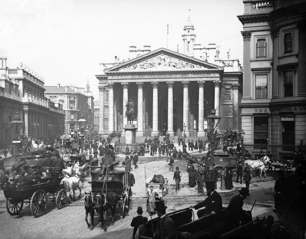 ROYAL EXCHANGE, City of London. A view looking from Mansion House Street towards the Royal Exchange with buses and other horse-drawn vehicles in the foreground. A late 19th century photograph by York and Son