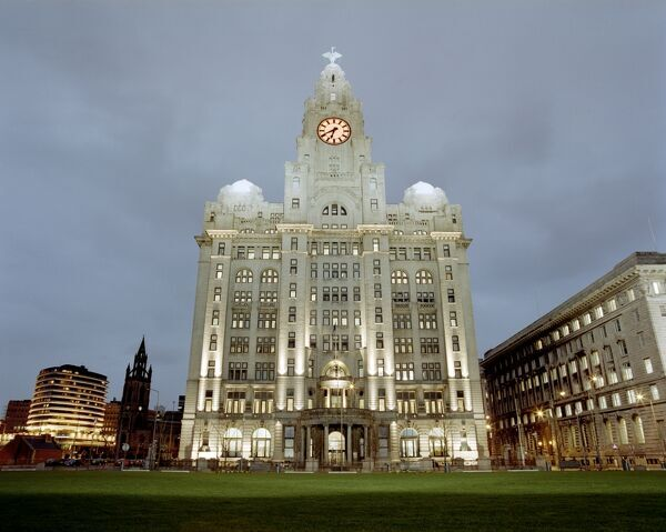 THE ROYAL LIVER BUILDING, Liverpool, Merseyside. The Royal Liver Building based at Pier Head at dusk