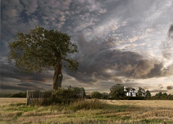 BOSCOBEL HOUSE, Brewood, Staffordshire. The Royal Oak and Boscobel House with dramatic sky