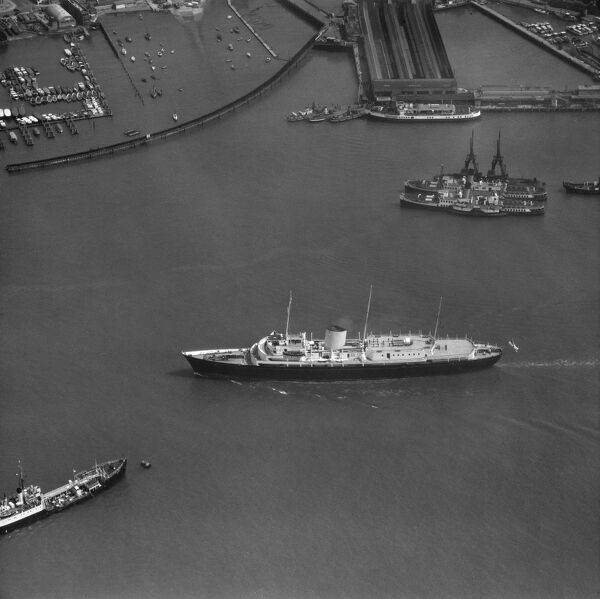 The Royal Yacht Britannia in Portsmouth Harbour. May 1959. Aerofilms Collection