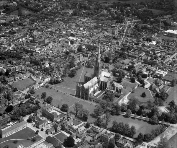 Salisbury, Wiltshire. The Cathedral and Cathedral Close. Photographed in May 1963. Aerofilms Collection