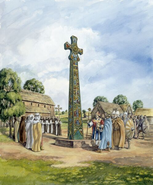 SANDBACH CROSSES, Cheshire. Reconstruction drawing of one of the crosses in the 9th century before it was moved to Sandbach, by Peter Dunn (English Heritage Graphics Team)