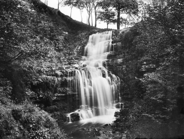 Scaleber Force, Settle, North Yorkshire. The Scalebar Brook drops 40 feet over limestone cliffs. Photographed in 1897 for the London Midland and Scottish Railway